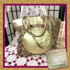Coach F18870 Gold Laura Secret Admirer Tote USED